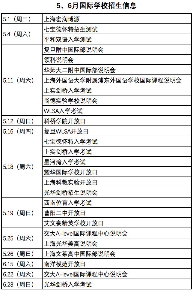 5~6月份上海国际学校招生信息汇总